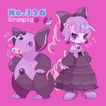 1girl bangs black_bow black_dress blunt_bangs bow character_name detached_sleeves dress drill_tail earrings full_body gen_3_pokemon grumpig jewelry lavender_hair long_sleeves looking_at_each_other magenta_background mameeekueya moemon necklace open_mouth personification pig poke_ball pokemon pokemon_(creature) pokemon_number shoes simple_background smile