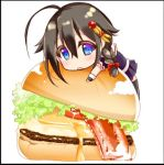 1girl ahoge bacon blue_eyes braid brown_hair cheese chibi food hair_between_eyes hair_flaps hair_ornament hamburger kantai_collection kiiro_kurumi lowres salad shigure_(kantai_collection) simple_background single_braid solo white_background