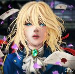 1girl blonde_hair blue_eyes blue_jacket braid brooch commentary crying crying_with_eyes_open english_commentary envelope face facing_viewer falling_petals hair_between_eyes hair_ribbon highres jacket jewelry letter looking_at_viewer parted_lips petals red_ribbon ribbon taylor_tate tears violet_(flower) violet_evergarden violet_evergarden_(character) white_neckwear