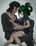 1boy 1girl aizawa_shouta arm_grab asui_tsuyu barefoot black_pants black_shirt boku_no_hero_academia collarbone eye_contact face-to-face facial_scar folded_ponytail green_eyes green_hair hair_between_eyes hair_bun hair_rings hug long_sleeves looking_at_another miniskirt pants parted_lips scar shirt short_sleeves sitting sitting_on_lap sitting_on_person skirt t-shirt tied_hair white_skirt yugaminokuni