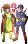 1girl bodysuit breasts curly_hair dragon_quest dragon_quest_ii dress exit_nothing full_body hat highres hood hood_up long_hair long_sleeves looking_at_viewer medium_breasts multiple_boys open_mouth prince_of_lorasia prince_of_samantoria princess princess_of_moonbrook purple_hair shield short_hair staff standing violet_eyes weapon white_dress white_robe