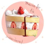 cake commentary deviantart english_commentary followers food fruit no_humans original sasoura simple_background sparkle strawberry strawberry_shortcake thank_you