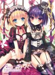 2girls black_bow black_hat black_legwear black_panties blonde_hair blue_eyes blush bow bowtie breasts choker cleavage copyright_name detached_sleeves eyebrows_visible_through_hair floating_hair frilled_hat frilled_panties frills garter_straps garters gothic_lolita hair_between_eyes hair_ribbon hairband hat hat_ribbon highres lolita_fashion lolita_hairband long_hair looking_at_viewer multiple_girls panties purple_hair red_bow red_eyes red_ribbon ribbon rubi-sama shiny shiny_hair side_ponytail sitting small_breasts striped striped_ribbon thigh-highs underwear wrist_cuffs yellow_panties yellow_ribbon