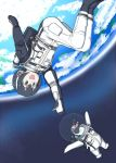 1girl :d bird black_hair earth grape-kun headphones humboldt_penguin humboldt_penguin_(kemono_friends) kemono_friends multicolored_hair ojigiri_(hisano1202) open_mouth outstretched_arm penguin short_hair smile space spacesuit upside-down