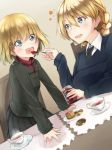 2girls :d amai_nekuta bangs black_neckwear black_skirt blonde_hair blue_eyes blue_sweater braid chair commentary cookie cup darjeeling desert dress_shirt dutch_angle emblem eyebrows_visible_through_hair feeding food girls_und_panzer green_jacket heart holding holding_spoon jacket jar katyusha long_sleeves looking_at_another miniskirt multiple_girls necktie open_mouth placemat pleated_skirt pravda_school_uniform red_shirt saucer school_uniform shirt short_hair skirt smile spoon st._gloriana's_school_uniform standing steam sweater table tea teacup tied_hair turtleneck twin_braids v-neck white_shirt wing_collar