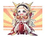 1girl armor chibi cosplay feathers female_my_unit_(fire_emblem_if) fire_emblem fire_emblem_heroes fire_emblem_if hairband highres long_coat long_hair my_unit_(fire_emblem_if) nakabayashi_zun open_mouth outstretched_arms pants red_armor red_eyes ryouma_(fire_emblem_if) ryouma_(fire_emblem_if)_(cosplay) solo spread_arms white_hair white_pants
