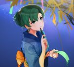 commentary_request earrings festival fire_emblem fire_emblem:_rekka_no_ken fire_emblem_heroes green_eyes green_hair hair_up highres japanese_clothes jewelry kimono looking_up lyndis_(fire_emblem) obi omikuji ormille pen ponytail sash shrine tanabata yukata