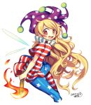 1girl american_flag_legwear american_flag_shirt bangs blonde_hair blush breasts clownpiece dated erect_nipples fairy_wings from_side hat iroyopon jester_cap long_hair looking_at_viewer neck_ruff open_mouth polka_dot purple_hat red_eyes reflective_eyes shiny shiny_clothes shiny_hair short_sleeves signature small_breasts smile solo star star-shaped_pupils swept_bangs symbol-shaped_pupils teeth tongue torch touhou very_long_hair wavy_hair white_background wind wings