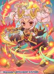 1girl armor breasts chibi cleavage company_name dark_skin debris fire fire_emblem fire_emblem_cipher fire_emblem_heroes fumi_(butakotai) hair_ornament holding holding_sword holding_weapon laevateinn_(fire_emblem_heroes) long_hair official_art pink_hair red_eyes see-through solo sword twintails weapon