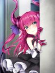 1girl around_corner asymmetrical_horns bangs bare_shoulders black_skirt blue_eyes curled_horns detached_sleeves dragon_girl dragon_horns dragon_tail elizabeth_bathory_(fate) elizabeth_bathory_(fate)_(all) eyebrows_visible_through_hair fate/extra fate/extra_ccc fate/grand_order fate_(series) gem highres horns layered_skirt long_hair looking_at_viewer pink_hair pointy_ears sasasa_(nashi) skirt solo tail