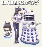1girl alternate_costume black_hair blake_belladonna bow cat_tail chibi dalek doctor_who dual_persona hair_bow highres iesupa long_hair midriff navel ribbon roomba rwby shoes sneakers solo tail yellow_eyes