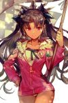 1girl bangs black_hair black_ribbon breasts checkered checkered_flag collarbone earrings fate/grand_order fate_(series) flag fur-trimmed_jacket fur_trim hair_ribbon hand_on_hip hankuri hips hood hoodie hoop_earrings ishtar_(fate/grand_order) ishtar_(swimsuit_rider)_(fate) jacket jewelry long_hair looking_at_viewer one-piece_swimsuit parted_bangs pink_jacket red_eyes ribbon simple_background smile solo swimsuit swimsuit_under_clothes tiara tohsaka_rin two_side_up white_background white_swimsuit