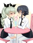 2girls anchovy anzio_school_uniform black_hair blush breasts drill_hair drink flirting girls_und_panzer green_hair hair_ornament hair_ribbon highres large_breasts multiple_girls necktie pantyhose pepperoni_(girls_und_panzer) red_eyes ribbon ruka_(piyopiyopu) short_hair skirt twintails white_legwear yellow_eyes yuri
