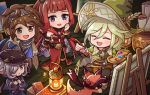 2boys 2girls blonde_hair braid brown_hair canvas_(object) caro_(granblue_fantasy) closed_eyes easel elta_(granblue_fantasy) erune granblue_fantasy green_eyes hairband harvin hat long_hair mojuke multiple_boys multiple_girls nio_(granblue_fantasy) open_mouth paintbrush painting redhead selfira smile vee_(granblue_fantasy) violet_eyes