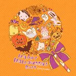 2017 autumn autumn_leaves bat bird bow broom bug candle candy english food fox ghost halloween hamster happy_halloween hat hat_bow hedgehog highres jack-o'-lantern leaf mojacookie no_humans orange_background orange_bow original pumpkin purple_bow rabbit silk spider spider_web star striped striped_background twitter_username upside-down witch_hat