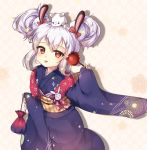 1girl animal animal_ears animal_on_head azur_lane bangs blue_kimono bow candy_apple closed_mouth double_bun echu eyebrows_visible_through_hair fingernails floral_print food hair_between_eyes hair_bow hair_ornament highres holding holding_food japanese_clothes kimono kinchaku laffey_(azur_lane) long_sleeves obi on_head pinching_sleeves pouch print_kimono rabbit_ears red_bow red_eyes sash side_bun sidelocks silver_hair sleeves_past_wrists solo tongue tongue_out wide_sleeves