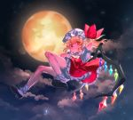 1girl ascot black_footwear blonde_hair bobby_socks bright_pupils closed_mouth clouds dress flandre_scarlet flying frilled_dress frills full_body full_moon hat hat_ribbon highres masanaga_(tsukasa) mob_cap moon night night_sky orange_eyes outdoors puffy_short_sleeves puffy_sleeves red_dress red_ribbon ribbon shoes short_hair short_sleeves side_ponytail sky smile socks solo touhou white_hat white_legwear white_neckwear white_pupils wings wristband