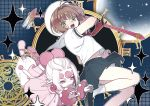 2girls brown_hair card_captor_sakura fuuin_no_tsue green_eyes half_updo hat kinomoto_sakura magic_circle multiple_girls no_nose open_mouth outstretched_hand pink_eyes pink_footwear pointy_ears power_(clow_card) puffy_short_sleeves puffy_sleeves school_uniform serafuku short_hair short_sleeves skirt wand white_hair white_hat wuliu_heihuo