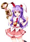 1girl :d animal_ears eyebrows_visible_through_hair highres long_hair looking_at_viewer lunatic_gun necktie open_mouth pink_skirt puffy_short_sleeves puffy_sleeves purple_hair rabbit_ears red_eyes red_neckwear reisen_udongein_inaba ruu_(tksymkw) shirt short_sleeves simple_background skirt smile solo touhou white_background white_shirt