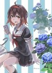 1girl :d ahoge black_serafuku black_skirt blush brown_eyes brown_hair cellphone collarbone commentary cowboy_shot eyebrows_visible_through_hair flower hair_between_eyes headband holding holding_phone kantai_collection leaf looking_at_viewer neckerchief open_mouth phone pleated_skirt red_neckwear sailor_collar school_uniform serafuku shiratsuyu_(kantai_collection) short_hair short_sleeves sitting skirt smartphone smile solo striped striped_background sugue_tettou twitter_username two-tone_background umbrella white_sailor_collar