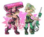 +_+ 2girls ankle_boots aori_(splatoon) black_dress black_footwear black_hair black_jumpsuit boots breasts brown_eyes cleavage closed_mouth commentary cousins detached_collar domino_mask dress e-liter_3k_(splatoon) earrings english_commentary food food_on_head gloves gradient_hair green_hair green_legwear hand_on_own_knee holding holding_weapon hotaru_(splatoon) jewelry leaning_forward long_hair looking_at_viewer mask medium_breasts mole mole_under_eye multicolored_hair multiple_girls object_on_head over_shoulder pantyhose pointy_ears purple_hair purple_legwear short_dress short_hair short_jumpsuit smile splat_roller_(splatoon) splatoon splatoon_1 standing strapless strapless_dress sushi tentacle_hair weapon weapon_over_shoulder white_collar white_gloves wong_ying_chee