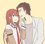 1boy 1girl arm_around_back black_hair blush breasts collarbone collared_shirt facial_hair finger_to_another's_mouth jacket labcoat long_hair long_sleeves makise_kurisu messy_hair necktie off_shoulder okabe_rintarou open_mouth orange_background profile redhead shirt short_hair simple_background small_breasts steins;gate stubble sweatdrop upper_body violet_eyes yellow_eyes yugure