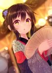1girl :o bangs blue_flower blurry blurry_background blush brown_eyes brown_hair commentary_request depth_of_field dutch_angle eyebrows_visible_through_hair flower hair_between_eyes hair_flower hair_ornament holding japanese_clothes kimono long_sleeves looking_at_viewer minarai_shachou multicolored multicolored_clothes multicolored_kimono original parted_lips sidelocks solo wide_sleeves