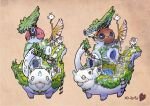 bell bell_collar clothesline collar concept_art creature fishing_rod grass highres hikky house ladder official_art on_animal pond stairs telescope tsukushi_akihito window