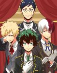 4boys bakugou_katsuki black_hair black_jacket black_neckwear blonde_hair blue_eyes blue_hair blue_neckwear blue_ribbon boku_no_hero_academia bow bowtie butler clenched_teeth curtains formal gloves green_eyes green_hair green_neckwear height_difference highres iida_tenya jacket male_focus midoriya_izuku monotsuki multicolored_hair multiple_boys neck_ribbon necktie red_neckwear red_ribbon redhead ribbon semi-rimless_eyewear shirt short_hair smile suit teeth todoroki_shouto two-tone_hair under-rim_eyewear vest white_gloves white_hair white_shirt yellow-framed_eyewear