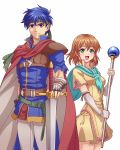 1boy 1girl blue_eyes blue_hair brother_and_sister brown_hair cloak elbow_gloves fingerless_gloves fire_emblem fire_emblem:_souen_no_kiseki gauntlets gloves green_eyes headband holding holding_staff holding_sword holding_weapon ike looking_at_viewer mist_(fire_emblem) siblings simple_background smile staff sword torn_clothes torn_sleeves weapon white_background