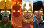 2boys 2girls aang avatar:_the_last_airbender avatar_(series) bald beard black_hair closed_mouth face facial_hair facial_tattoo glowing glowing_eyes glowing_tattoo hair_tubes korra kyoshi_(avatar) lipstick long_hair looking_at_viewer makeup multiple_boys multiple_girls older qinni roku_(avatar) serious tattoo the_legend_of_korra tied_hair wallpaper water watermark web_address white_hair