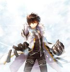 black_hair black_shirt blade_master_(elsword) cloak elsword highres looking_at_viewer malmaron mechanical_arm pointing_weapon raven_(elsword) scar serious shine shirt sword tagme weapon yellow_eyes