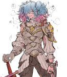 1girl armor evil_smile fire_emblem fire_emblem_if hair_over_one_eye highres injury multicolored_hair pieri_(fire_emblem_if) smile solo torisudesu two-tone_hair white_background