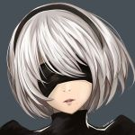 1girl artist_name black_hairband covered_eyes grey_background hairband lucky_keai mole mole_under_mouth nier_(series) nier_automata open_mouth portrait short_hair silver_hair simple_background solo yorha_no._2_type_b