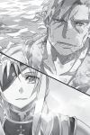 1boy 1girl abec alice_schuberg bercouli_(sao) collarbone eyepatch greyscale highres looking_at_viewer monochrome novel_illustration official_art open_mouth plant portrait shoulder_armor spaulders split_screen spoilers sword_art_online tears vines