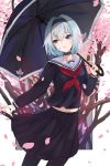 1girl absurdres black_hairband black_legwear black_serafuku black_shirt black_skirt black_umbrella blue_eyes blue_hair choker collarbone hair_ornament hairband head_tilt highres holding holding_umbrella looking_to_the_side midriff neckerchief parted_lips petals pleated_skirt red_neckwear ryuuou_no_oshigoto! school_uniform serafuku shirt short_hair skirt snowflake_hair_ornament solo sora_ginko standing umbrella