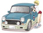 1girl bangs blonde_hair blue_eyes braid buruma car closed_mouth commentary_request darjeeling from_side girls_und_panzer ground_vehicle gym_shirt gym_uniform leaning_forward looking_at_viewer mini_cooper motor_vehicle red_buruma roundel shadow shirt short_hair short_sleeves simple_background smile solo standing t-shirt tied_hair twin_braids uona_telepin white_background white_shirt