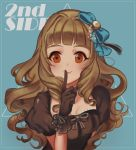 1girl aqua_background aqua_bow arm_at_side bangs blunt_bangs blush bow breasts brown_bow brown_choker brown_dress brown_eyes brown_gloves brown_hair cheong_ha choker closed_mouth curly_hair dot_nose dress dress_bow finger_to_mouth frilled_gloves frills gloves hair_bow hair_intakes hand_up idolmaster idolmaster_cinderella_girls index_finger_raised kamiya_nao long_hair looking_at_viewer medium_breasts puffy_short_sleeves puffy_sleeves raised_eyebrows ringlets short_sleeves shushing simple_background smile solo upper_body
