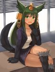 1girl :d absurdres alternate_costume animal_ears anubis_(monster_girl_encyclopedia) bangs breasts cleavage clipboard commission green_eyes green_hair hair_ornament hand_up highres jacket large_breasts legs_crossed long_sleeves looking_at_viewer miniskirt monster_girl monster_girl_encyclopedia open_mouth paws pencil_skirt purple_jacket purple_skirt shirt sitting skirt smile snake_hair_ornament solo sookmo tail white_shirt window wolf_ears wolf_tail