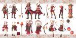3boys 3girls aisha_(elsword) armor bow bowtie chung_seiker design elsword elsword_(character) eve_(elsword) flower hair_flower hair_ornament highres katana lamp lantern multiple_boys multiple_girls raven_(elsword) rena_(elsword) scimitar scorpion5050 silk_sheet sword tagme traditional_clothes weapon white_hair