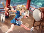 bang_dream! blonde_hair blush dress long_hair ponytail tsurimaki_kokoro yellow_eyes