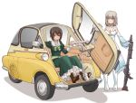 2girls blue_eyes bmw_isetta boots breasts brown_eyes brown_footwear brown_hair car cleavage closed_mouth commentary_request cosplay dress eyebrows_visible_through_hair girls_und_panzer green_dress ground_vehicle gun holding holding_weapon itsumi_erika izetta izetta_(cosplay) long_dress long_sleeves machine_gun medium_breasts motor_vehicle multiple_girls nishizumi_maho ortfine_fredericka_von_eylstadt ortfine_fredericka_von_eylstadt_(cosplay) petticoat shadow shuumatsu_no_izetta silver_hair simple_background sitting smile standing uona_telepin weapon weapon_request white_background white_dress white_footwear