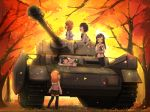 5girls akiyama_yukari autumn brown_eyes brown_hair caterpillar_tracks day girls_und_panzer grass ground_vehicle isuzu_hana leaf long_hair military military_vehicle motor_vehicle multiple_girls nishizumi_miho ooarai_school_uniform orange_eyes orange_hair panzerkampfwagen_iv reizei_mako shainingu_ikura short_hair smile takebe_saori tank tree younger