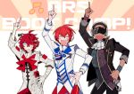 3boys arsloid bandage beamed_eighth_notes black_hair cravat cyber_songman dark_skin dark_skinned_male fukase hand_on_hip head_flag headphones jacket male_focus multiple_boys musical_note pants pointing pointing_up red_pants red_sclera redhead saturday_night_fever scar shaved_head smile sunglasses uoshi_(uoshi777) vocaloid wristband