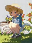 1girl angel angel_wings blonde_hair blue_eyes blush dirty_clothes flower garden great_kichi halo hat misty_sheikh open_mouth pointy_ears pop-up_story shoes short_hair smile sneakers sun_hat wings