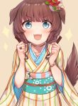 1girl 2018 :3 :d absurdres animal_ears blue_eyes blush bone bracelet brown_choker brown_hair choker clenched_hands commentary_request dog_ears dog_tail eyebrows_visible_through_hair flower hair_flower hair_ornament heart highres japanese_clothes jewelry kimono koretsuna long_hair looking_at_viewer multicolored multicolored_stripes open_mouth original ring smile standing striped striped_kimono tail upper_body v-shaped_eyebrows vertical_stripes