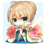 1girl ahoge artoria_pendragon_(all) artoria_pendragon_(swimsuit_archer) bangs big_head blonde_hair blush bow braid breasts cape casual_one-piece_swimsuit chibi closed_mouth commentary_request covered_navel excalibur eyebrows_visible_through_hair fate/grand_order fate_(series) flower food fur-trimmed_cape fur_trim green_cape green_eyes hair_between_eyes hair_bun holding holding_food holding_sword holding_weapon medium_breasts multicolored multicolored_cape multicolored_clothes one-piece_swimsuit orange_bow popsicle red_flower smile solo sparkle swimsuit sword twitter_username weapon white_swimsuit yellow_cape yukiyuki_441