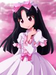 black_hair capelet fusano_kirara gegege_no_kitarou gothic_lolita hairband lolita_fashion long_hair long_sleeves pink_background red_eyes shishinon