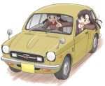 2girls asymmetrical_bangs bangs black_hair blush_stickers braid brown_eyes brown_hair brown_jacket car chi-hatan_military_uniform commentary_request driving frown fukuda_(girls_und_panzer) girls_und_panzer glasses ground_vehicle honda_n360 jacket long_hair long_sleeves looking_out_window military military_uniform motion_lines motor_vehicle multiple_girls nishi_kinuyo open_mouth pointing riding round_eyewear simple_background sitting twin_braids twintails uniform uona_telepin white_background