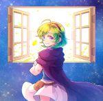 1girl ahoge blue_eyes cloak fire_emblem fire_emblem:_rekka_no_ken green_hair hzk_(ice17moon) looking_at_viewer nino_(fire_emblem) skirt smile solo window